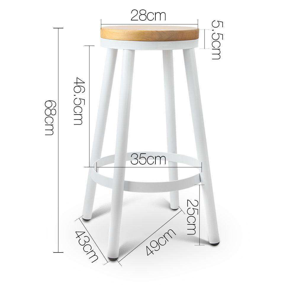 Set of 2 Round White Stackable Bar Stools - Desirable Home Living