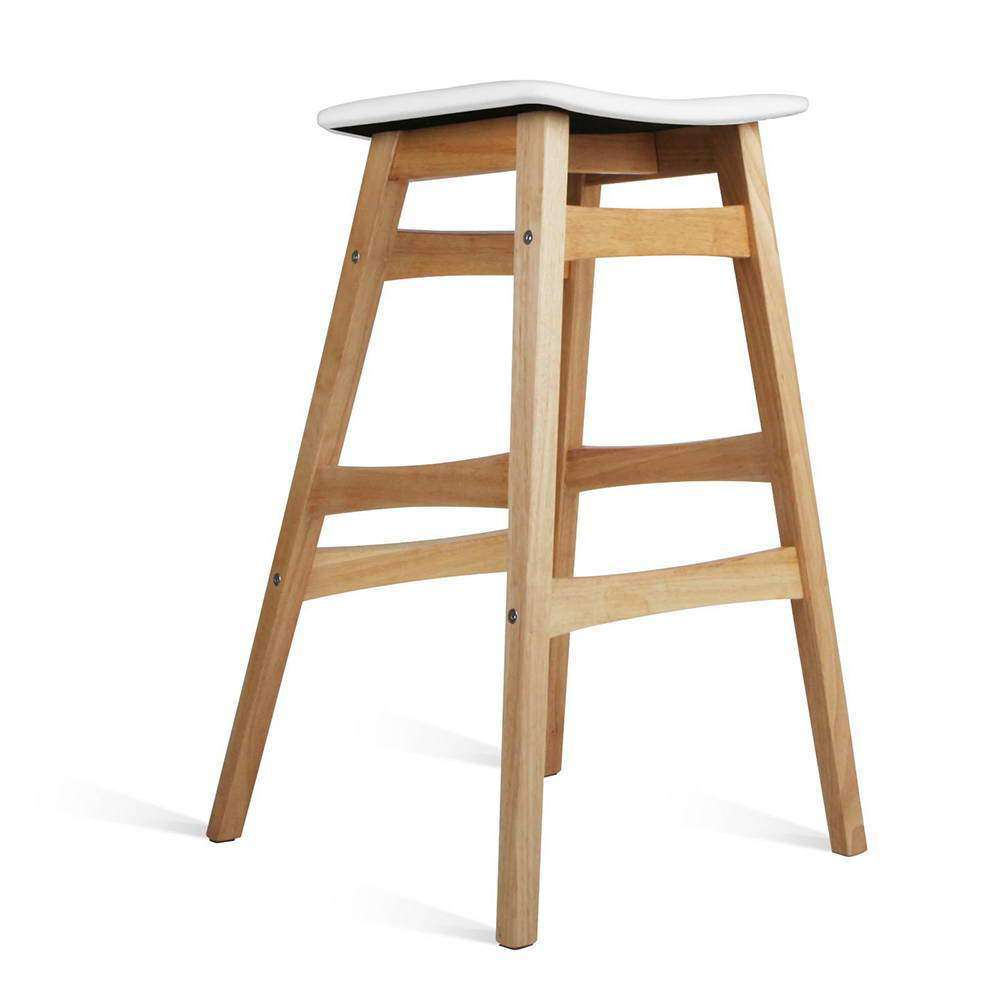Sert of 2 Rubberwood Bar Stools - White - Desirable Home Living