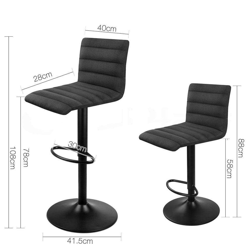 Set of 2 Fabric Kitchen Bar Stool Black - Desirable Home Living