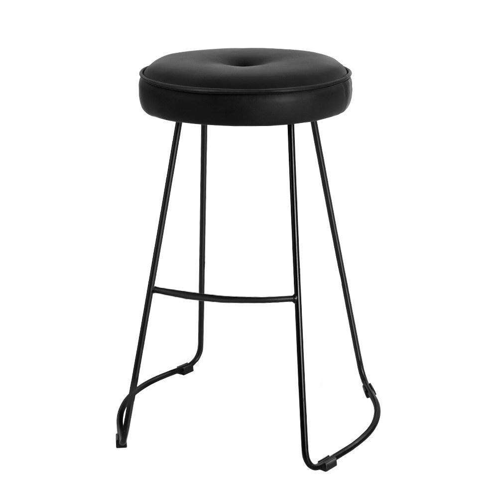 Artiss 2x Bar Stools Kitchen Stool Chairs Modern Metal Leather Black