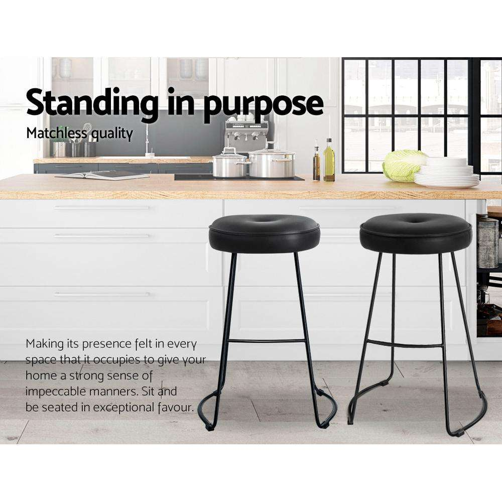 Artiss 2x Bar Stools Modern Metal Leather Black