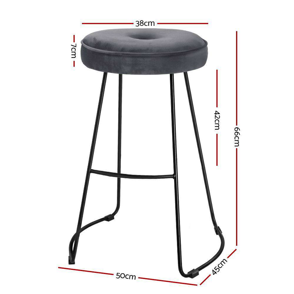 Artiss 2x Bar Stools Modern Metal Velvet Fabric Grey