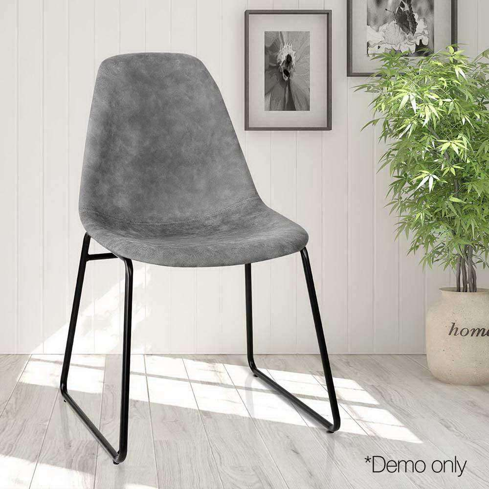 Set of 2 PU Leather Dining Chairs Grey - Desirable Home Living