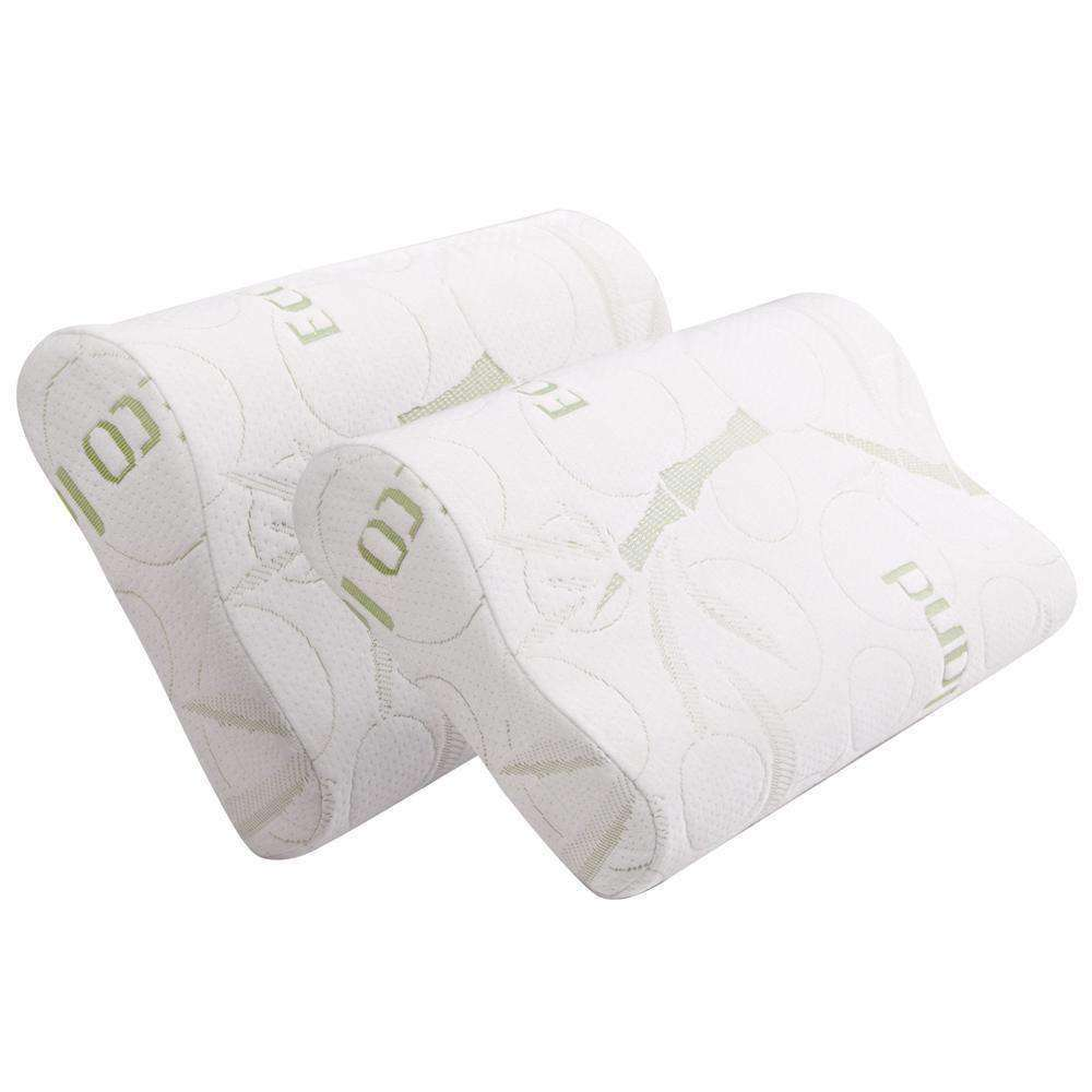 Set of 2 Bamboo Fabric Cover Contour Memory Foam Pillow 50 x 30 cm - Desirable Home Living