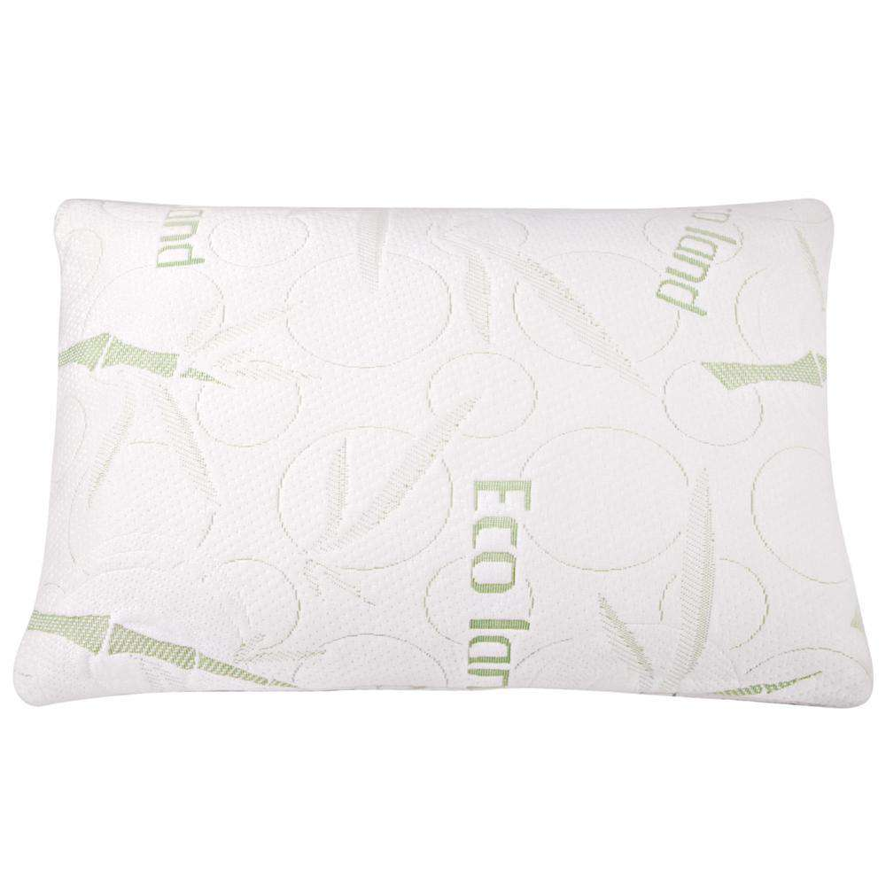 Set of 2 Bamboo Fabric Cover Shredded Memory Foam Pillow 70 x 40 cm - Desirable Home Living
