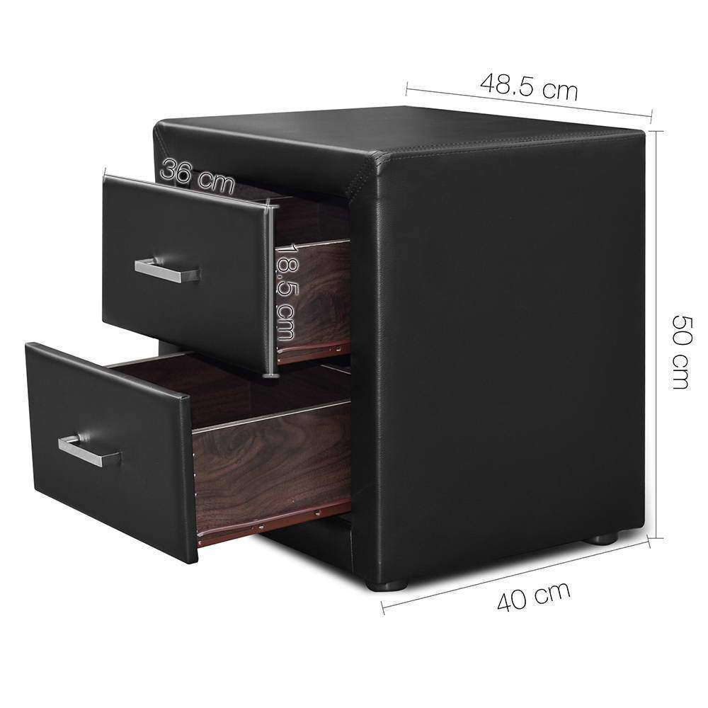 PU Leather Bedside Table 2 Drawers Black - Desirable Home Living