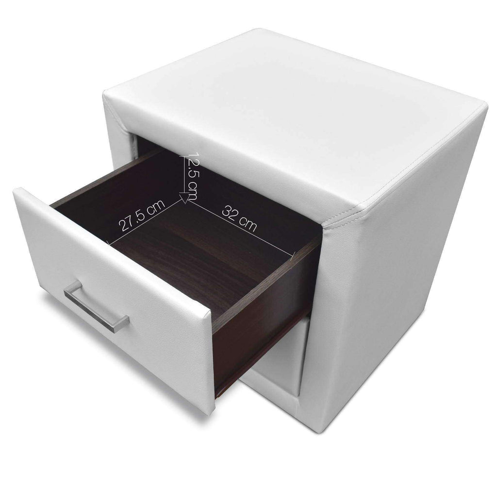 PU Leather Bedside Table 2 Drawers White - Desirable Home Living