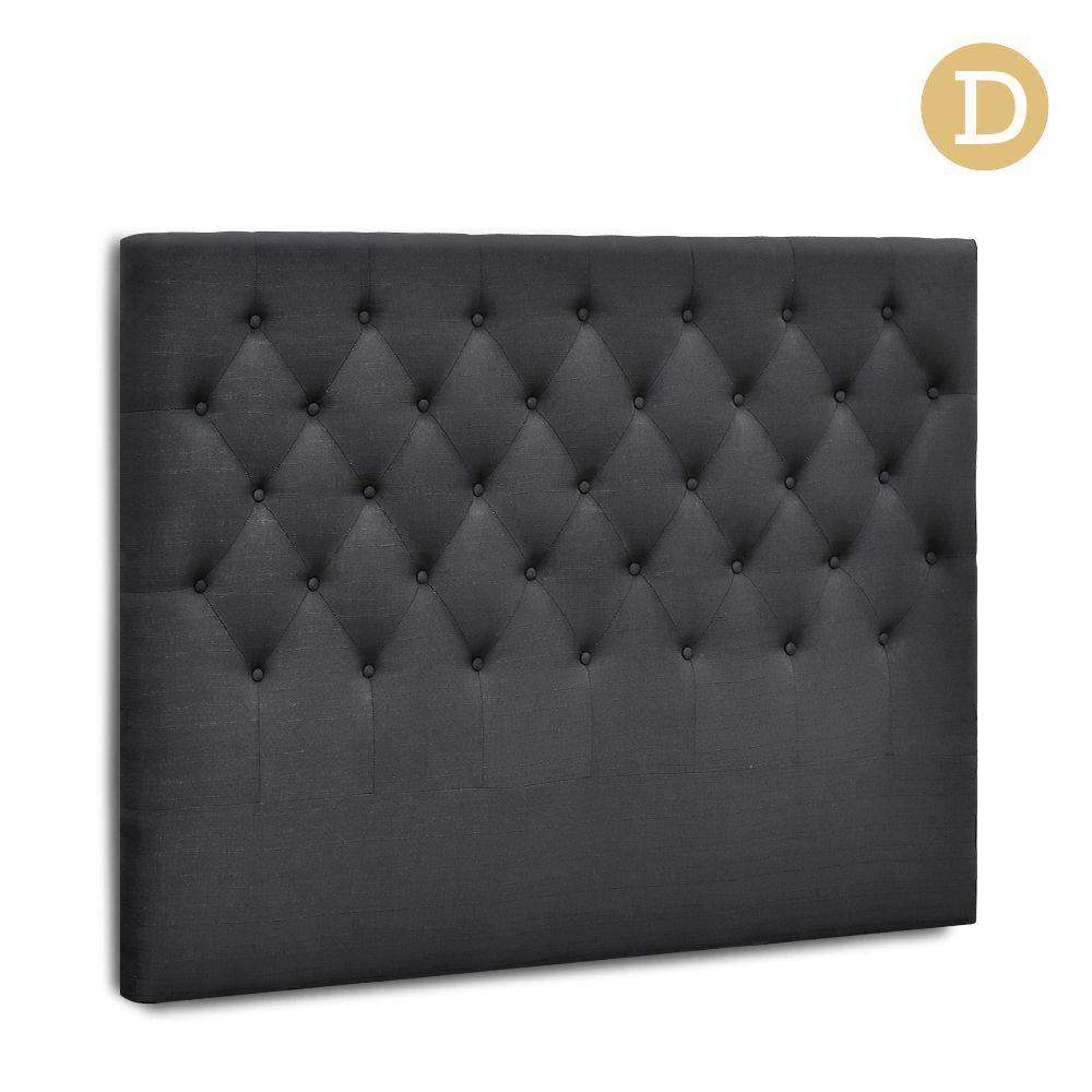Double Size Upholstered Fabric Headboard - Charcoal