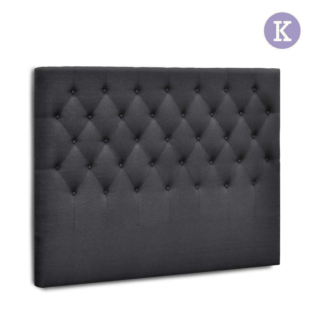 King Size Upholstered Fabric Headboard - Charcoal