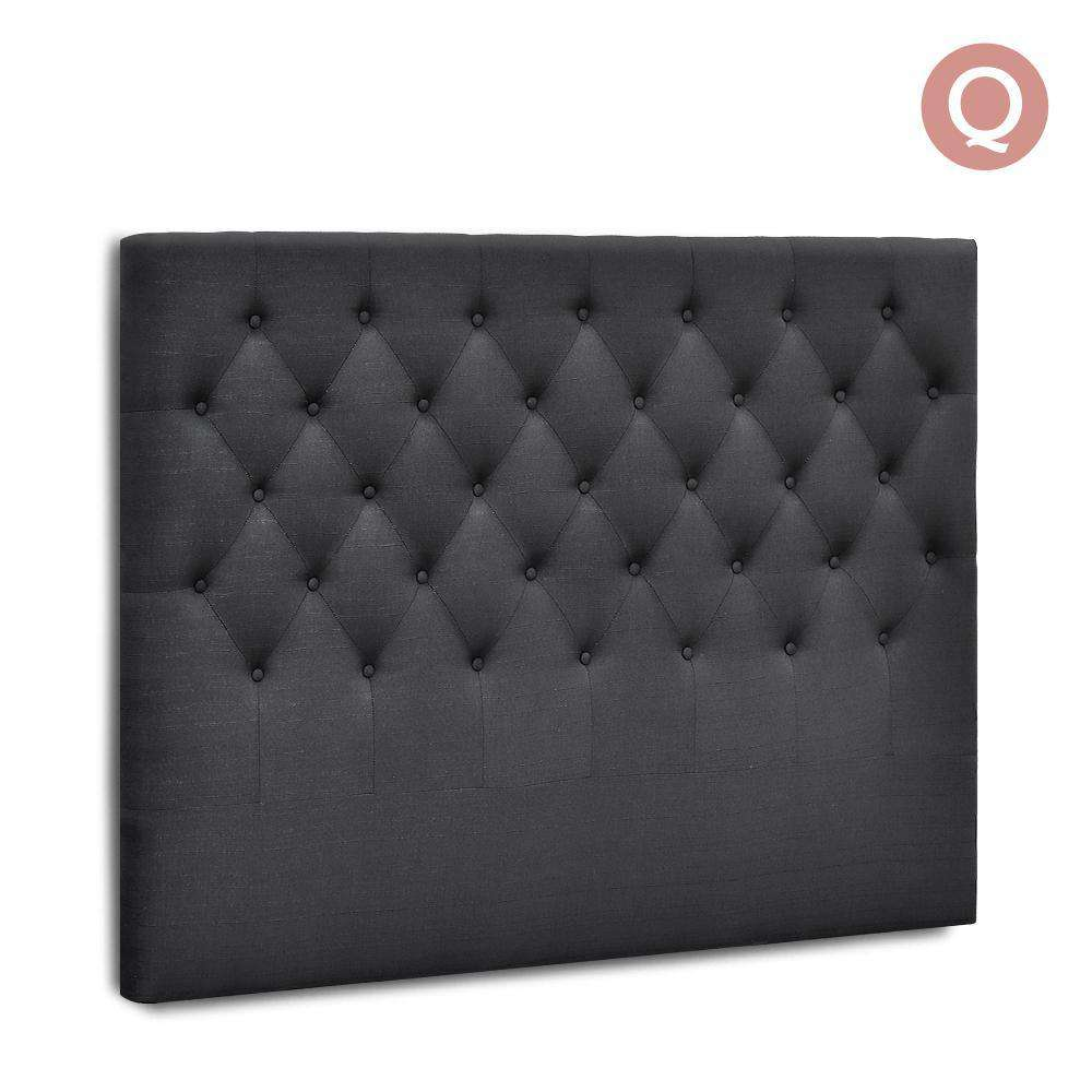 Queen Size Upholstered Fabric Headboard - Charcoal