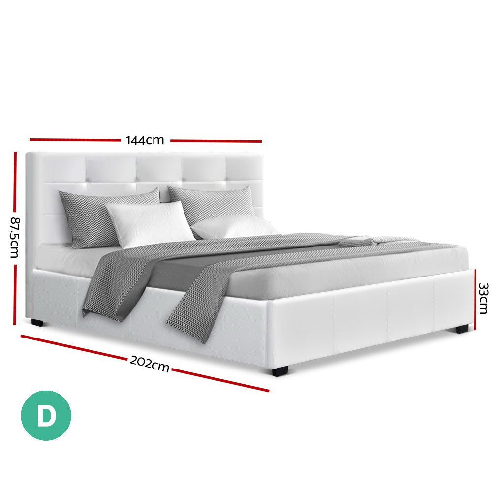 Artiss LISA Double Gas Lift Bed Frame White Leather