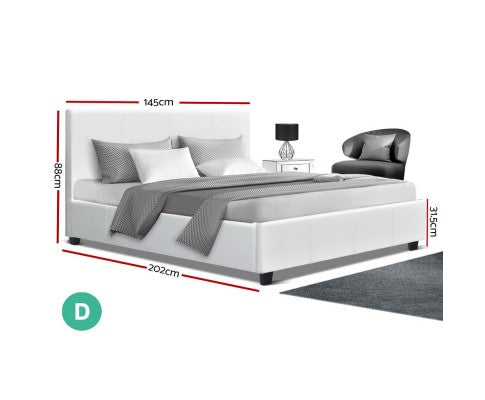 Artiss Double Full Size Bed Frame White Leather NEO