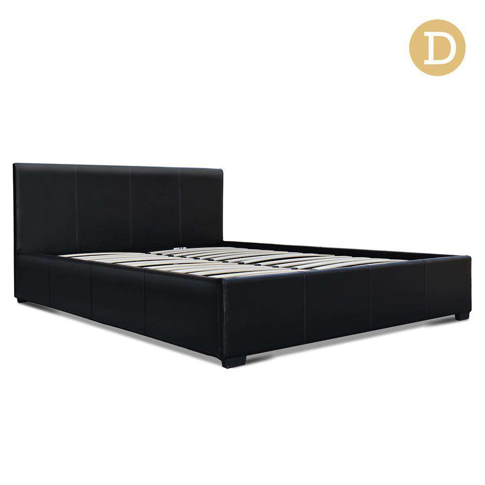 PU Leather Gas Lift Bedframe Black Double