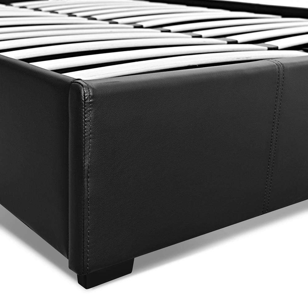 PU Leather Gas Lift Bedframe Black Double - Desirable Home Living