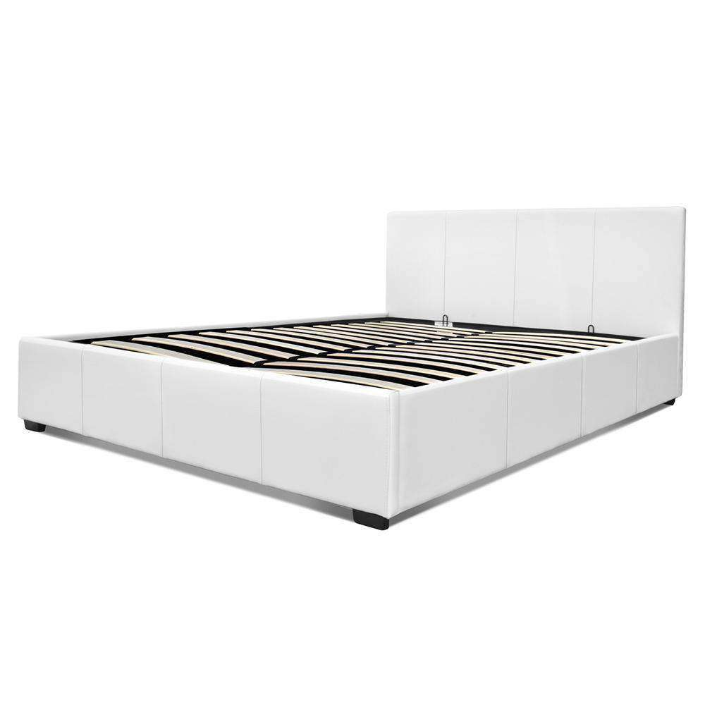 PU Leather Gas Lift Bedframe White Double - Desirable Home Living