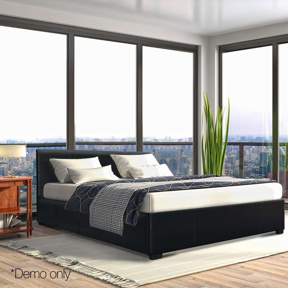 PU Leather Gas Lift Bedframe Black Queen - Desirable Home Living