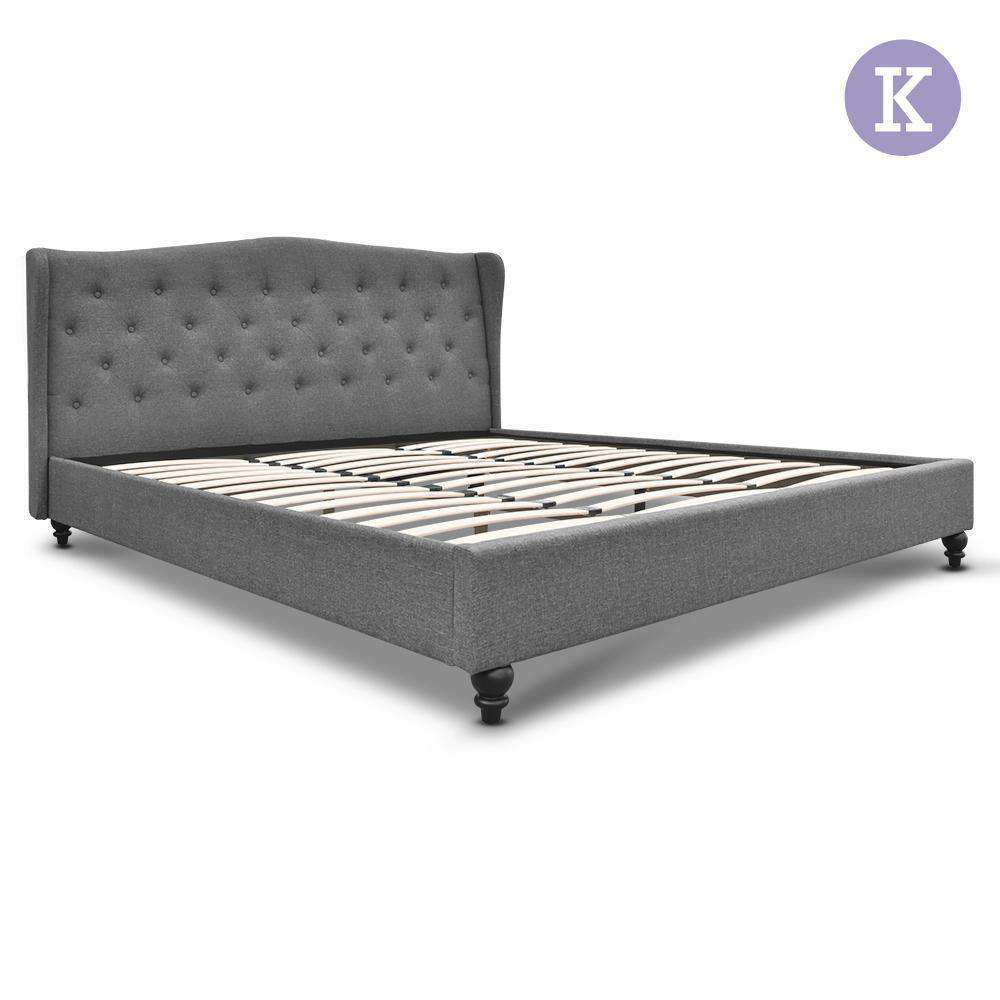 King Fabric Bed Frame with Headboard Grey