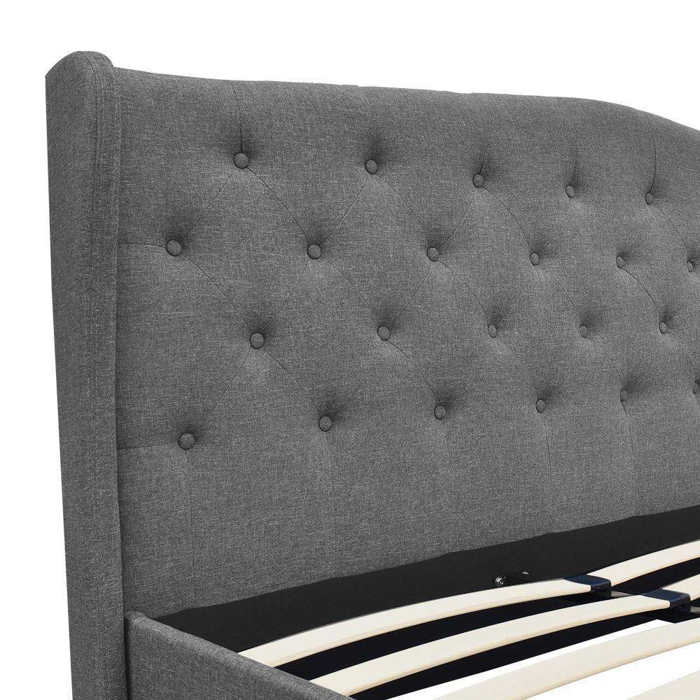 King Fabric Bed Frame with Headboard Grey - Desirable Home Living