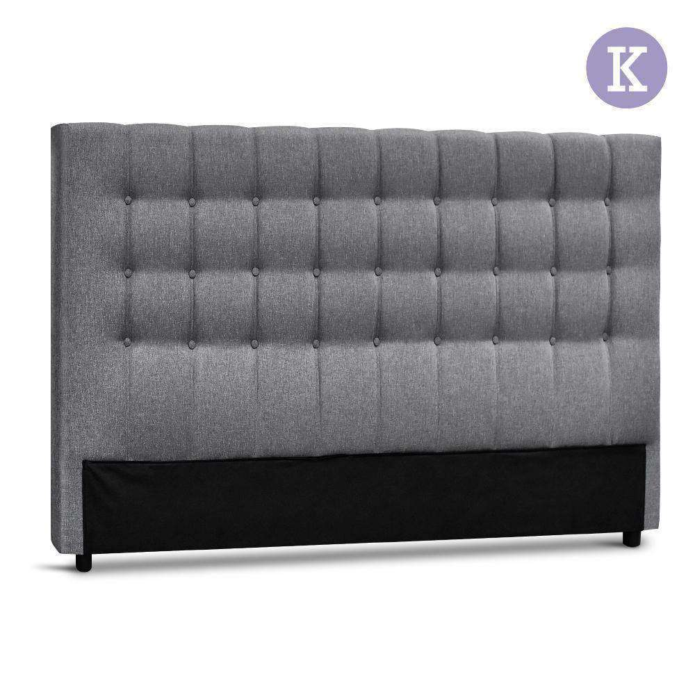King Size Upholstered Fabric Headboard - Grey