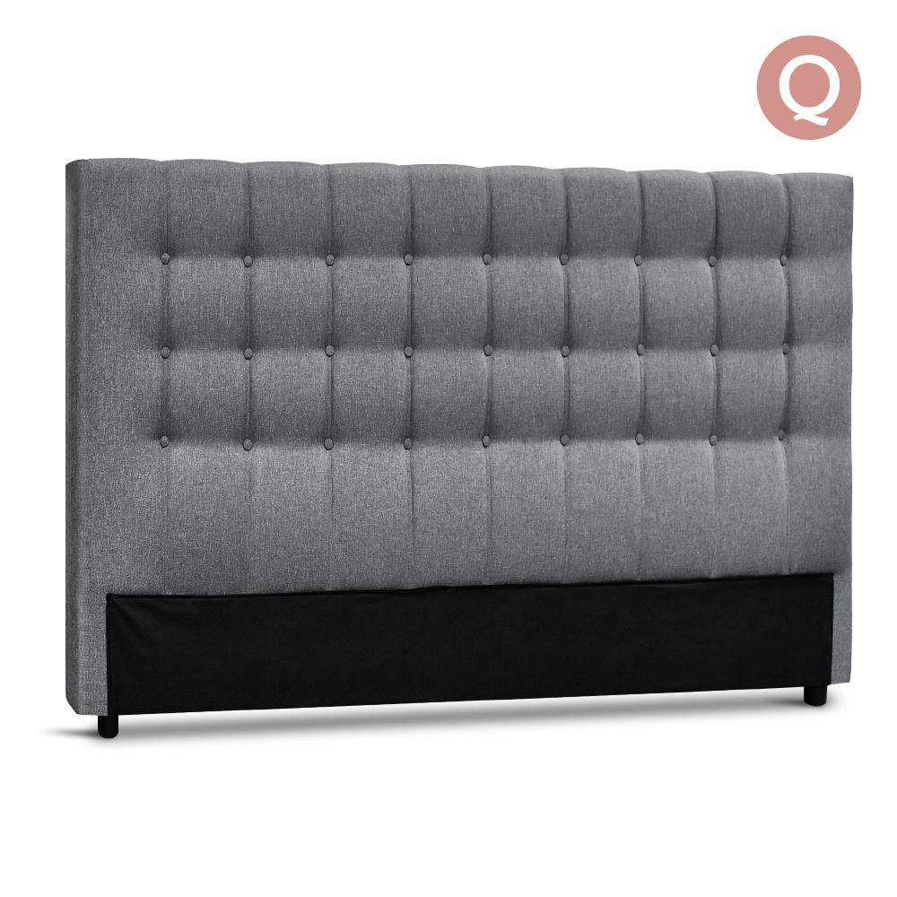 Queen Size Upholstered Fabric Headboard - Grey