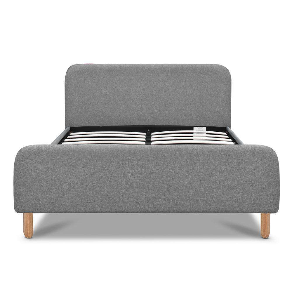 Double Polyester Fabric Bed Frame Grey - Desirable Home Living
