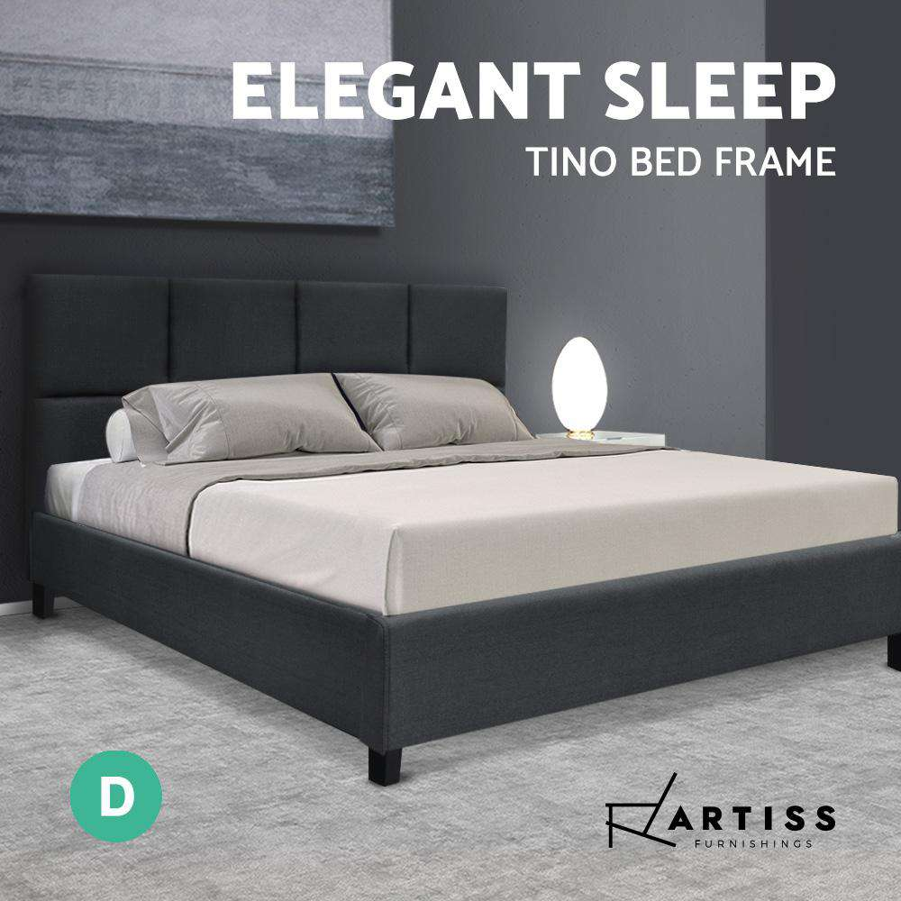 Artiss TINO Double Size Bed Frame Base Fabric Headboard Wooden