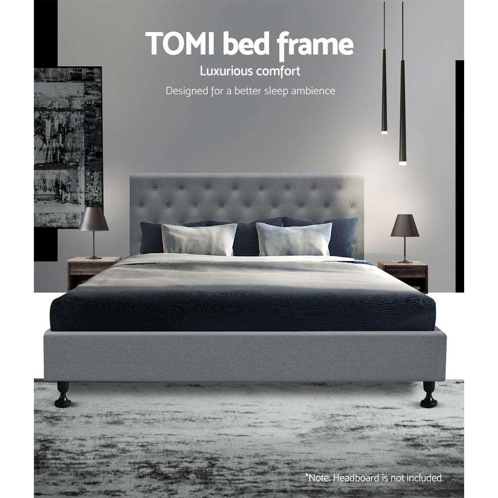 Artiss Double Full Size Bed Base Frame Platform Fabric Wooden Grey TOMI