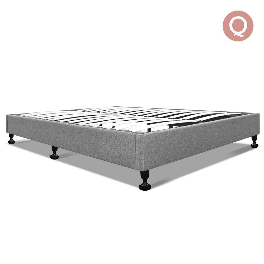 Queen Polyester Fabric Bed Base Grey