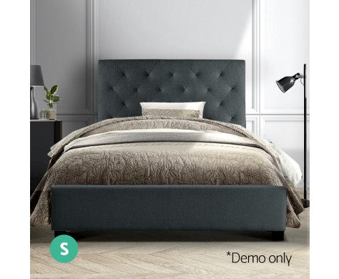 Artiss Single Size Bed Frame Charcoal Fabric VAN