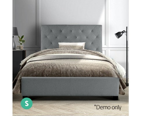 Artiss Single Size Bed Frame Grey Fabric VAN
