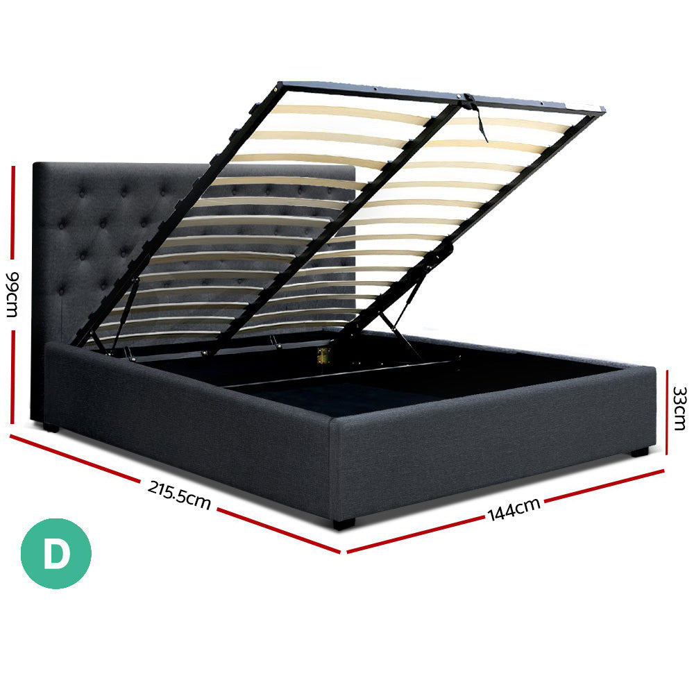 Artiss Double Size Fabric Gas Lift Bed Charcoal