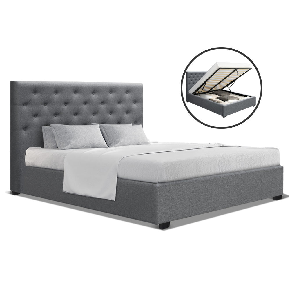 Artiss Double Full Size Gas Lift Bed Frame Base With Storage Mattress Grey Fabric VILA