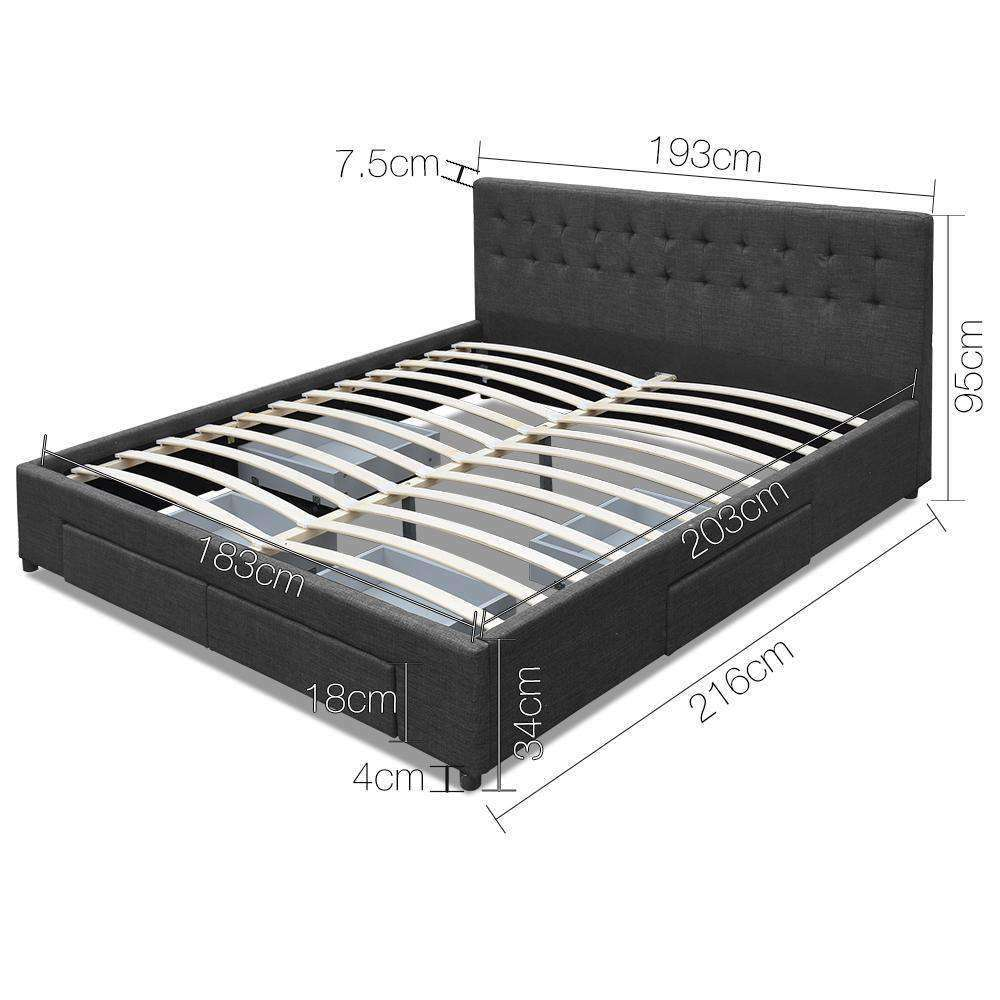 King Fabric Bed Frame with Storage Drawers Dark Grey - Desirable Home Living