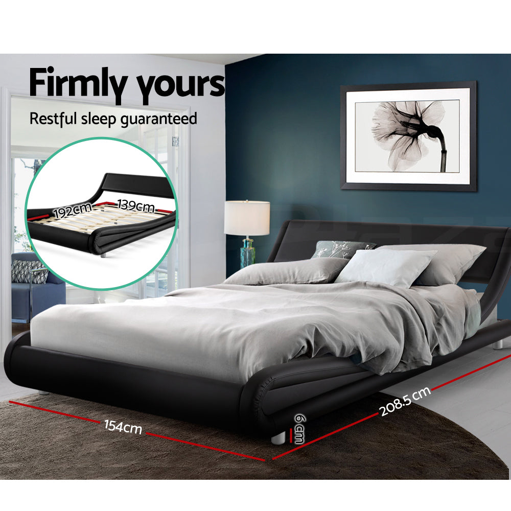 Artiss FLIO Double Size Bed Frame Black Leather