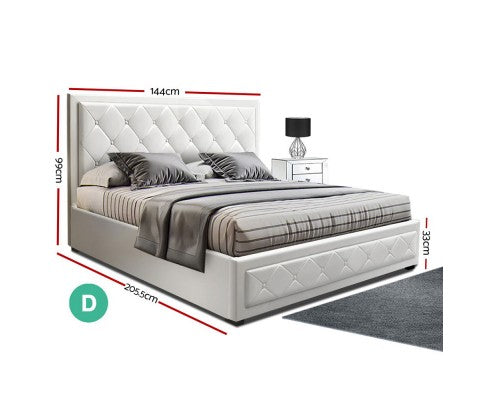 Artiss TIYO Double Gas Lift Bed Frame White Leather