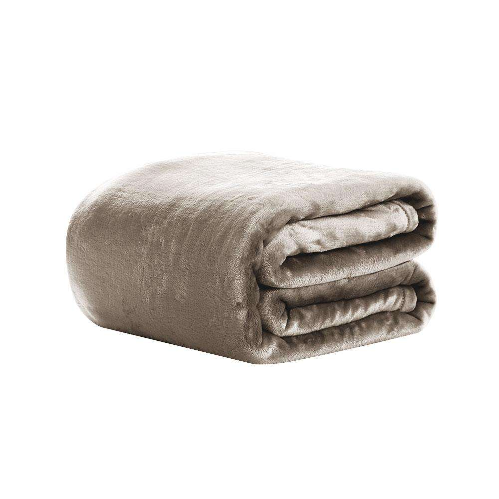 Giselle Bedding Faux Mink Blanket Quilt Winter Fleece Throw Rug Beige King