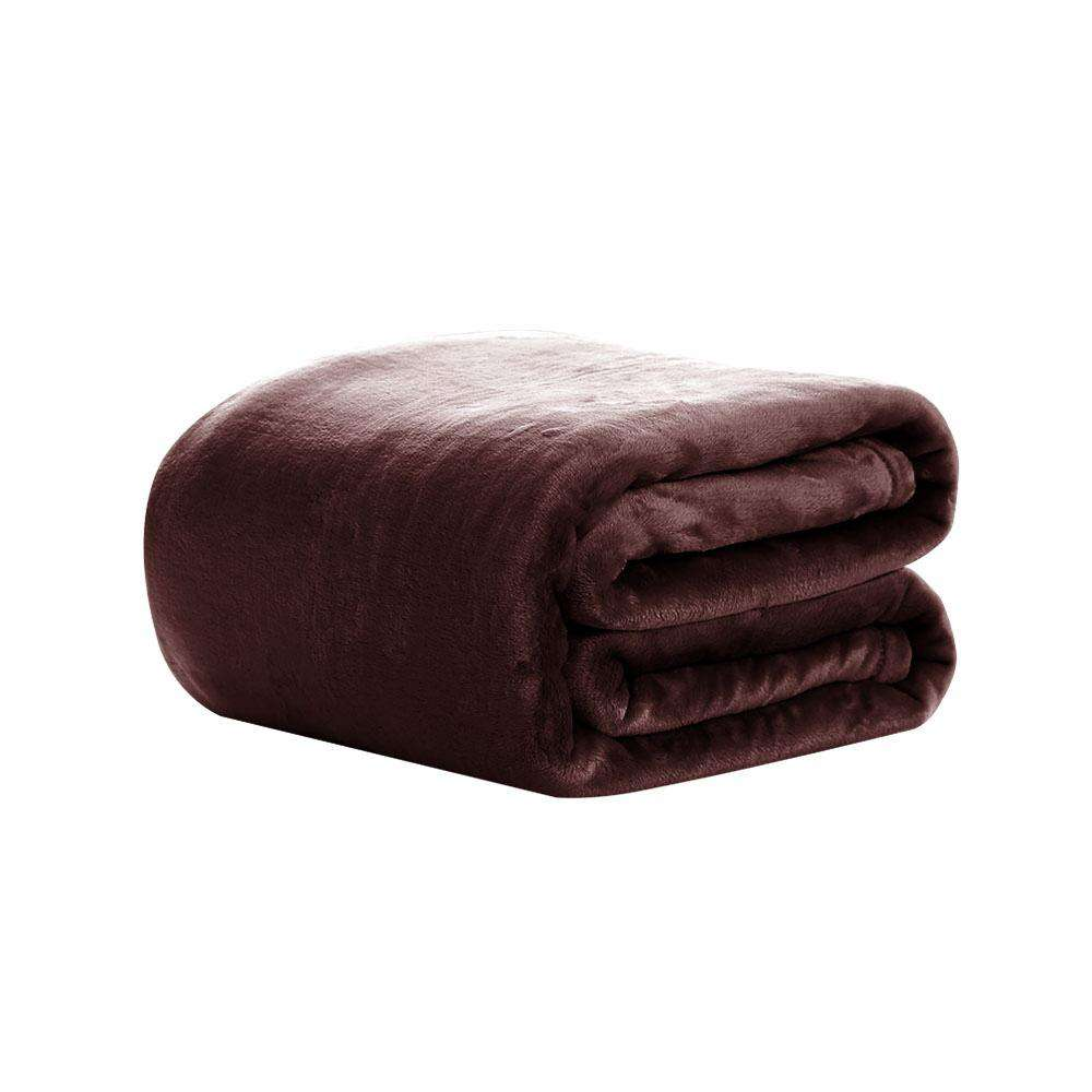Giselle Bedding Faux Mink Blanket Winter Quilt Duvet Fleece Throw Rug Brown King
