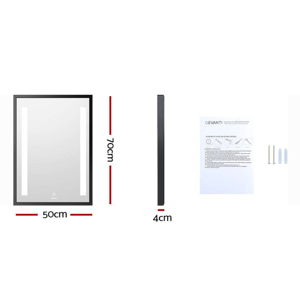 Devanti Bathroom Wall Mounted Vanity Makeup Dressing Mirror LED Illuminated 500mm x 700mmm