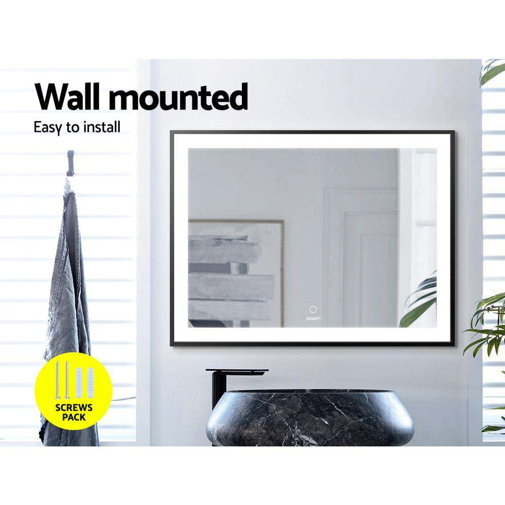 Devanti Bathroom Wall Mounted Mirror LED Light Illuminated Makeup Dressing Vanity Room 800mm x 600mm