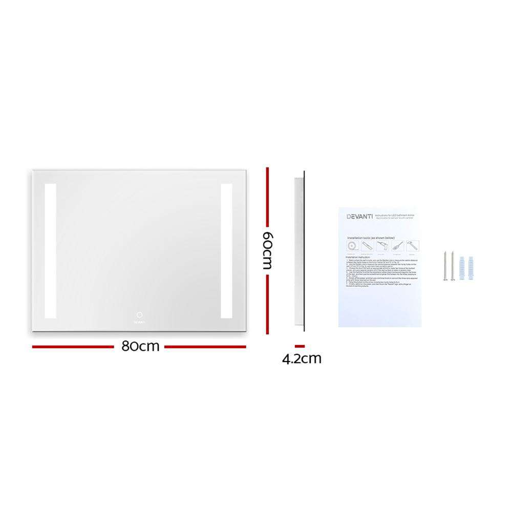 Devanti Bathroom Wall Mounted Mirror LED Illuminated Beauty Dressing Vanity 800mm x 600mm