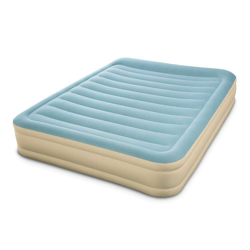 Bestway Double Inflatable Bed Air Mattress with Carry Bag - Light Blue & Beige