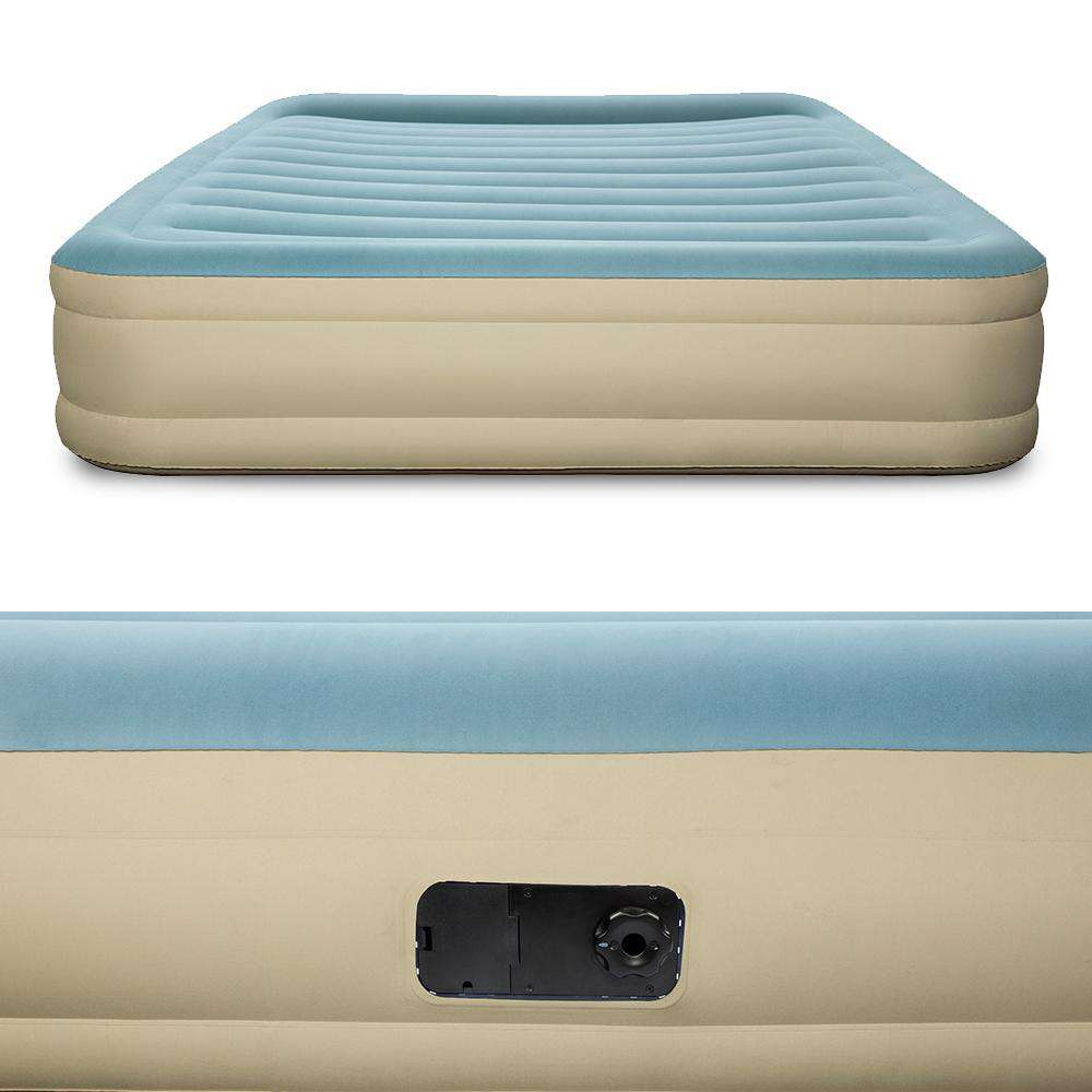 Bestway Double Inflatable Bed Air Mattress with Carry Bag - Light Blue & Beige - Desirable Home Living