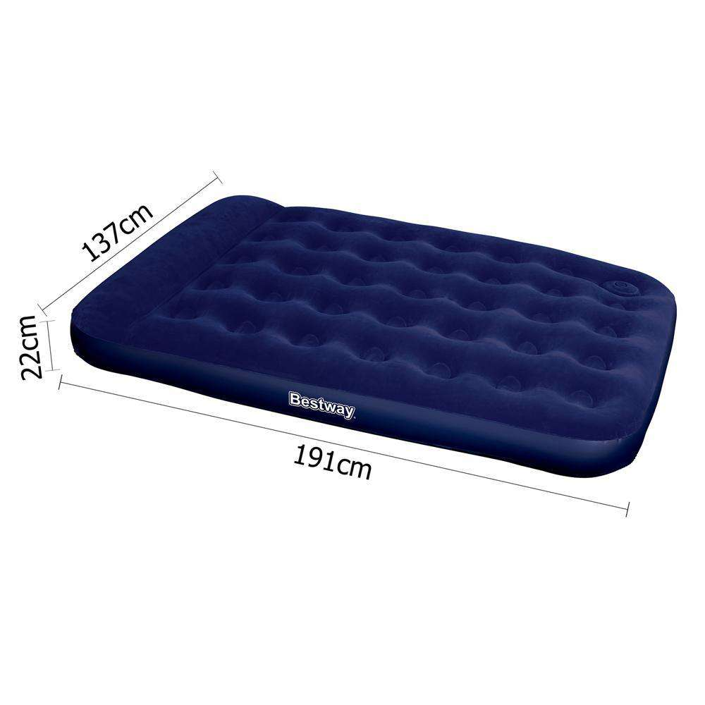 Bestway Double Inflatable Air Mattress Bed w/ Built-in Foot Pump Blue - Desirable Home Living
