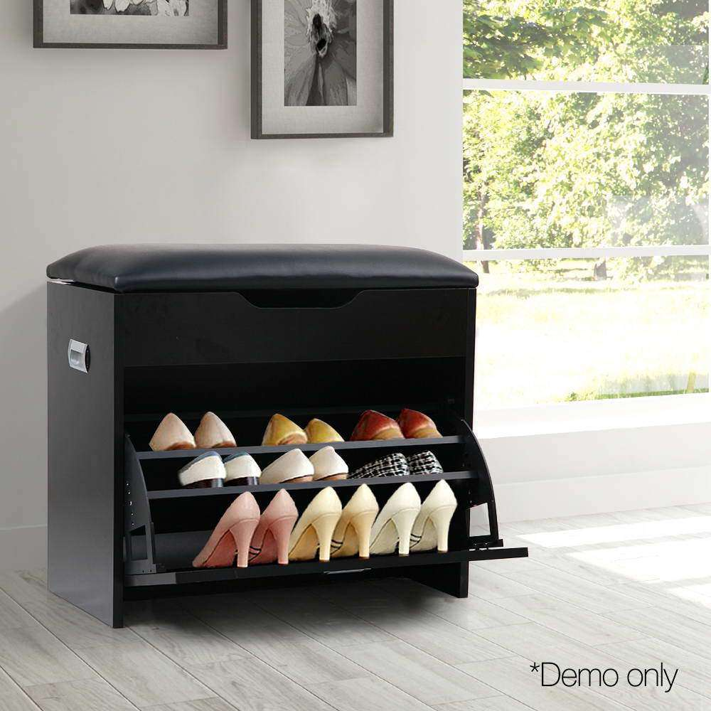 3 Tier Shoe Cabinet Storage Stool Black - Desirable Home Living