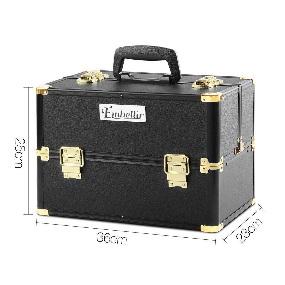 Portable Beauty Makeup Case Diamond Black Gold - Desirable Home Living