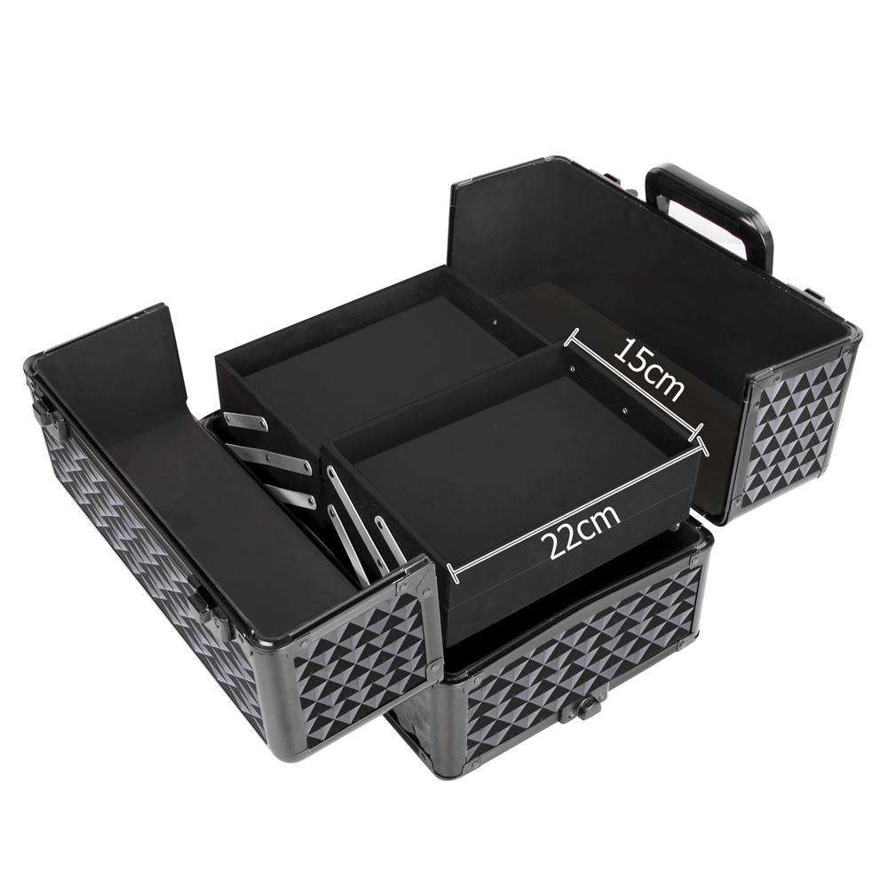 Embellir 7 in 1 Portable Cosmetic Beauty Makeup Trolley - Diamond Black