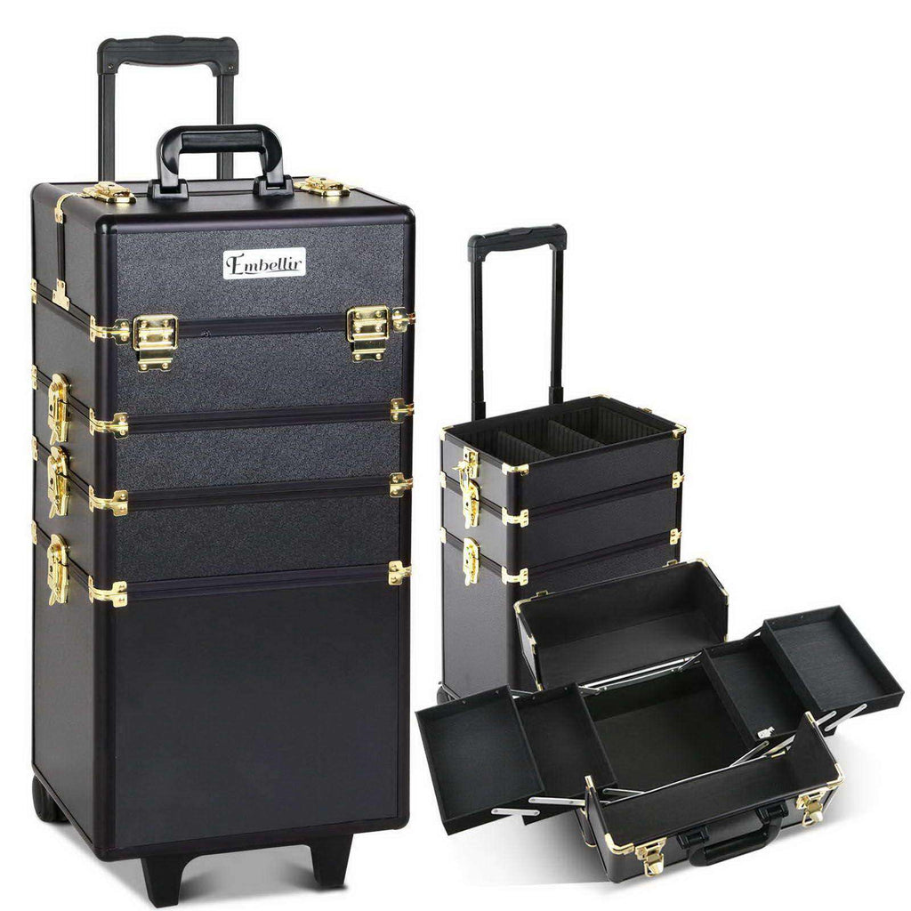 7 in 1 Portable Beauty Make up Cosmetic Trolley Case Black Gold