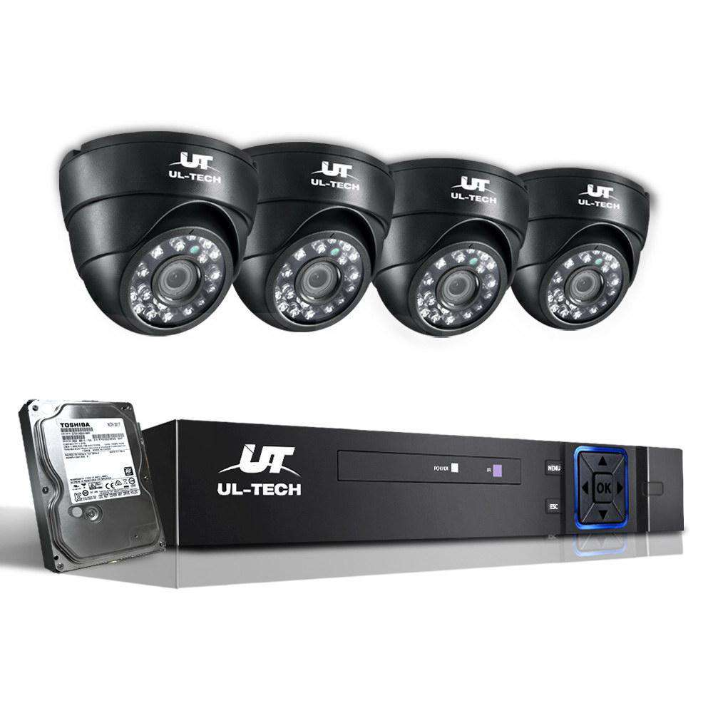 1080P Four Channel HDMI CCTV Security Camera 1 TB Black