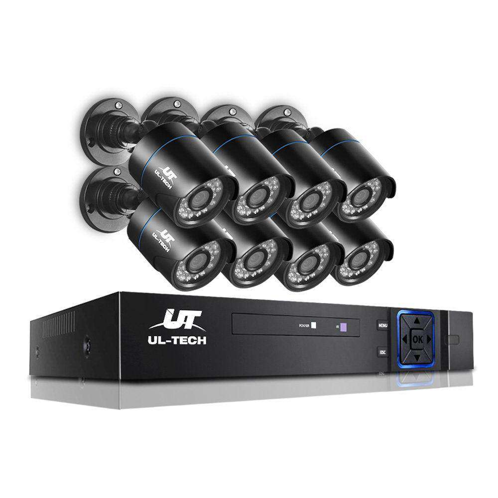 1080P Eight Channel HDMI CCTV Security Camera Black