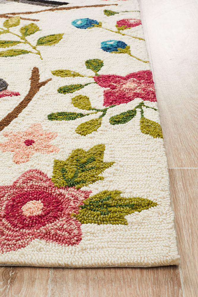 Copacabana Finch and Nest Exquisite Indoor Outdoor Rug Cream